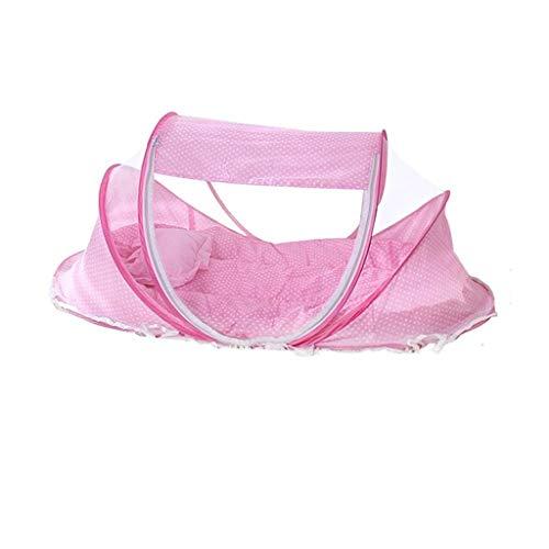 YXNN Sommer Moskitonetz Für Kinder, Tragbare Falten Baby Reisebett Kinderbett Babybetten Neugeborenen Faltbare Krippe Für 0-24 Monate (blau) (Color : Pink)