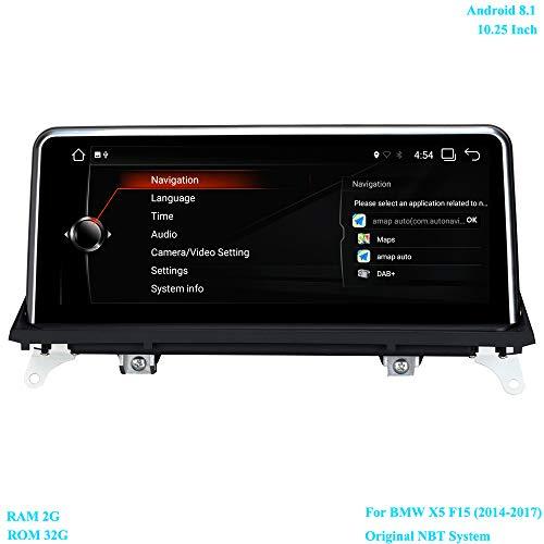 XISEDO 10.25 Zoll Bildschirm Android 8.1 Autoradio RAM 2G ROM 32G 6-Core GPS Navi Unterstützt Bluetooth WiFi Lenkradkontrolle Android Radio für BMW X5 F15 (2014-2017) Ursprüngliches NBT System