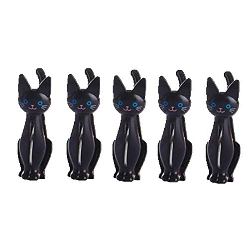 Jeerui 5 Pcs Beutelclips Verschlussklammer Dichtungs Klipp kreative Plastikwäscheklammer Netter Karikatur Katze Haushalts Taschen Klipp (3 Farben) -