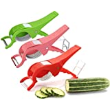 KEWIN Combo Of 3-2 In 1 RED, Green And Pink Plastic Vegetable Cutter And Peeler,White And GREEEN Multifunctional Veg Cutter
