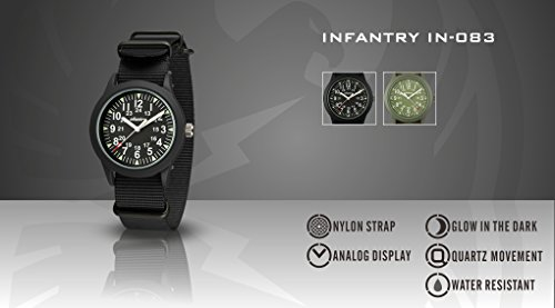 INFANTRY® Analoges Quarzwerk Armbanduhr Schwarz Herrenuhr Quarz Analoguhr Outdoor Militär Uhr G10 Nylon Uhrband - 2