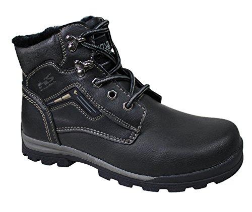 Stivali uomo Hanson nero casual scarpe stivaletti invernali neve con pelliccia interna (42)