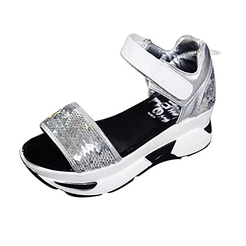 Longra Donna Muffin fondo sandali Paillettes della piattaforma Argento