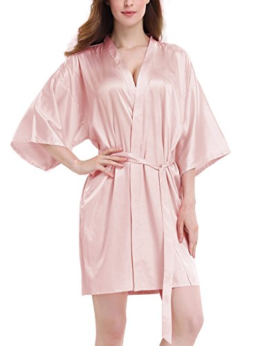 unverwechselbarer Stil achten Sie auf wähle das Neueste Genuwin Damen Bademantel Nachtwäsche Sexy Satin Kimono V Ausschnitt mit  Gürtel Morgenmantel(M,Rosa)