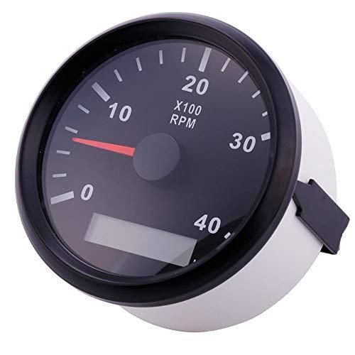 ELING Tachymètre Étanche Tachymètre Compteur RPM Avec Compteur D'heures 0-4000 RPM 85mm 9-32V Avec Rétro-Éclairage