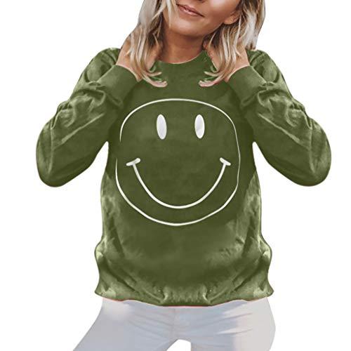 routinfly Damen T-Shirt Lässige Bluse Tops Oberteile,Mode Winter Langarm Rundhals Smile Print Pullover Bluse Hoodie Lockerer langärmliger Smiley-Pullover S-3XL -