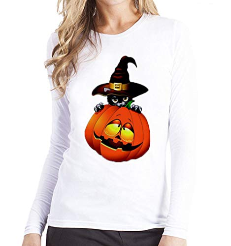 MERICAL Halloween kostüm Damen Plus Größe Printing Tees Shirt Langarm T-Shirt Bluse(EU:44/CN:M,Gelb-B)