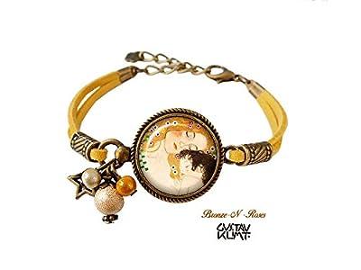 Bracelet La mère et l'enfant bijou rétro Gustave Klimt jaune cadeau peinture Noël