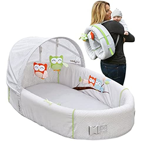 LulyBoo Travel Bassinet - Premium Portable Owl Theme Baby Lounge - Includes Activity Bar And Rattle Toys by