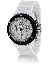Glam Rock Unisex Quartz Watch with White Dial Analogue Display and White Plastic Strap 0.96.3299