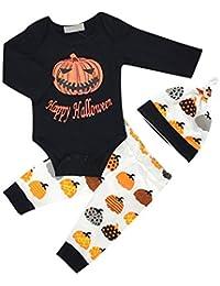 Baby Boy Halloween Pajamas Set Party Homewear Romper Pant Hat 3 piezas Set de ropa