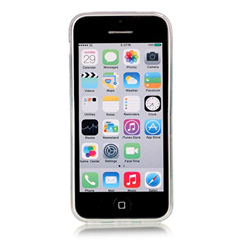 iPhone 5C Hülle, E-Lush TPU Soft Silikon Tasche Transparent Schale Clear Klar Hanytasche für iPhone 5C Durchsichtig Rückschale Ultra Slim Thin Dünne Schutzhülle Weiche Flexibel Handyhülle Kratzfeste S Karikatureule