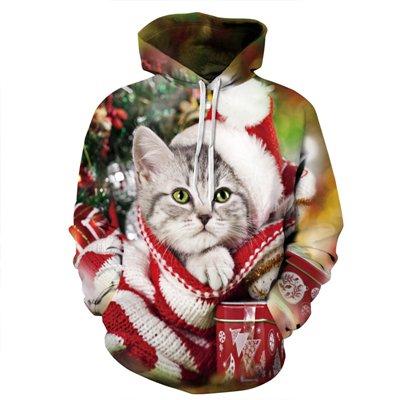 BYWLHNB Neue modische Weihnachten Katze Muster Hoodies Jacken Paare Freizeit Sweatshirt Men Hoodie Frauen Pullover 2017, Multi, M