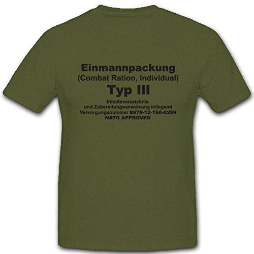 Epa Einmannpackung Typ 3 Bundeswehr Militär Nahrung Fressen Dosenfutter Esbit - T Shirt Herren oliv #4977