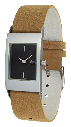 Moog Paris Alu Women's Watch with Black Dial, Brown Strap in Adjustable Nubuck lace - M00011-402