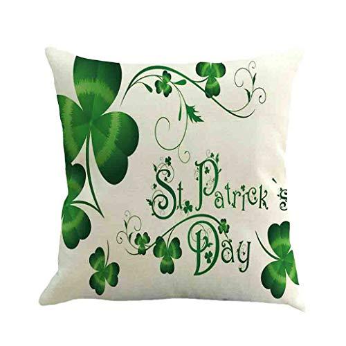 ODRD Happy St. Patricks Day dekorative Kissenbezug Frühling grün Blätter ()