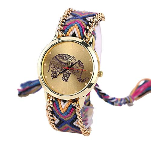 Bracelets Armbänder 1S76 BR.1170 - brasilianische Armbanduhr, Mehrfarbig - Motiv Elefant Mandala Hippie Bohème - Goldkette - verstellbar - Boho Chic