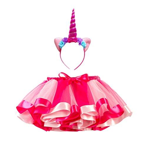 FENICAL Cerchietti Capelli Unicorno con Gatto Orecchie Tutu Gonna Vestito Arcobaleno per Bambini S (Fascia per Capelli e Gonna)(Roseo)