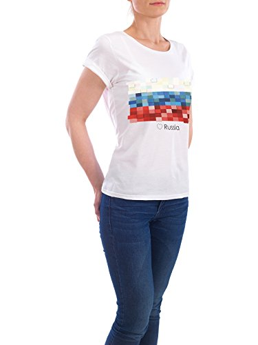 """Design T-Shirt Frauen Earth Positive """"Russia Flag"""" - stylisches Shirt Reise Reise / Länder von GREENGREENDREAMS Weiß"""