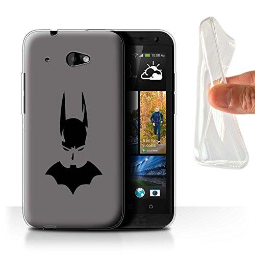 Desire Telefon-abdeckungen Htc 601 Für (Stuff4 Gel TPU Hülle / Case für HTC Desire 601 LTE / Dunkler Ritter / Silber Muster / Comic Batman Inspiriert Kollektion)