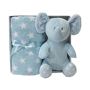 Duffi Baby- Manta y Peluche, 90 x 75 cm, Color Azul (Master Baby Home, S.L. 0658-12)