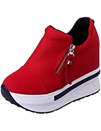 XINANTIME - Cuñas mujer botas zapatos de plataforma Zapatillas de deporte con resbalón en los tobillos