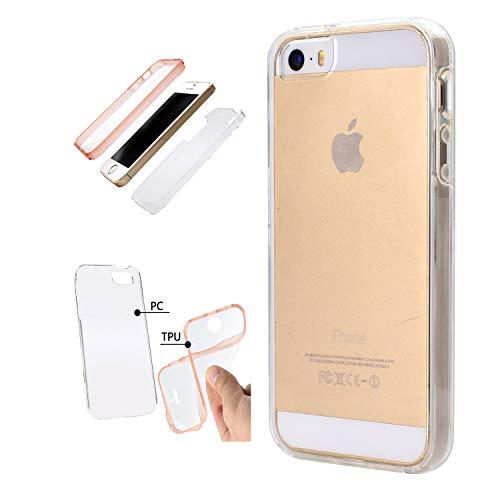 Artfeel 360 Grad Ganzkörper Schutzhülle für iPhone 5S/SE, iPhone 5 Handyhülle Vorne und Hinten Weich TPU + Hart PC 2 in 1 Ultra Dünn Klar Transparent Hülle-Kristall