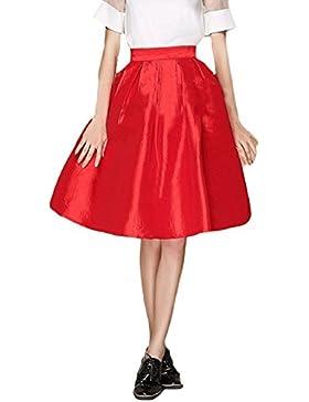 Faldas Mujer Elegantes Faldas Largas Fiesta Falda Plisada Años 50 A-Line Vintage Moda Color Solido Falda Larga