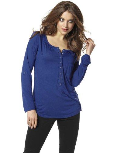 Laura Scott Damen Top Sportliches Longsleeve Langarmshirt Shirt Blau, Größenauswahl:36 -