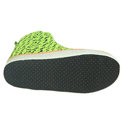 Home Slipper bequem kuschelig Sneaker Turnschuhe Hausschuhe Pantoffeln für Männer mit vielfältig Muster Grün
