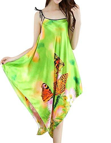 BigForest Femmes BOHO Spaghetti Strap Satin Soie Longue Peignoir Pyjama de chambre sangle r¨¦glable v¨ºtements de nuit robe green