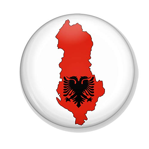 Kostüm Hauptstadt - Gifts & Gadgets Co. Kühlschrankmagnet, Motiv Albinianische Flagge auf Einer Karte von Albanien, rund, klein, 38 mm
