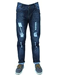Forever Young Mens Dark Denim Rip Jeans Designer Distressed Slim Regular Fit Stretch Straight Leg Jeans W36 L36