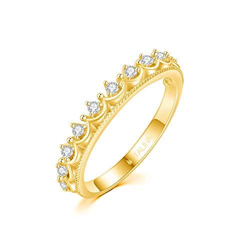 Italina Bijoux Damen Solitärehering Ring Zirkonia Ring Prinzessin Kronen Ring für mädchen vergoldet 17mm - Krone Auf Der Juwel