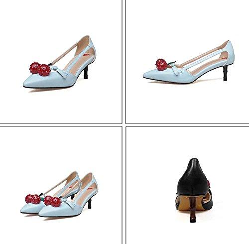 NobS Pointe Toe Chaussures simples Chaussures en forme de talon aiguisé en bambou rouge à ruban Chaussures creuses peu profondes Blue