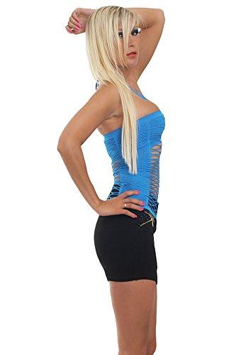 Fashion4Young 5644 tankini débardeur pour femme en tissu stretch et disponible en 8 couleurs Bleu - Bleu