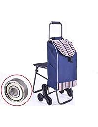 BHXUD Carro Carretilla De Compras Carretilla Ligero Plegable 6 Ruedas Gran Capacidad Shopper Plegable Silla,