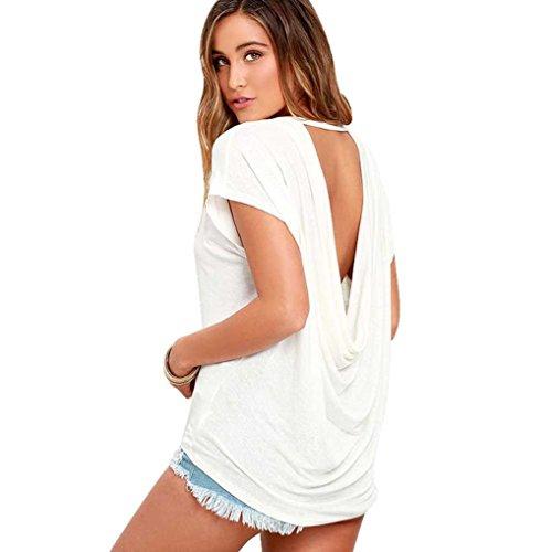 Manadlian - T-shirts Chemisier Femme Manches Chauve-Souris Lâche Dos Nu Décontracté Blanc