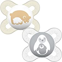 MAM Start (Pack of 2), 0-2 Months Baby Soothers with Self Sterilising Travel Case, Newborn Essentials, Ivory/Grey (Designs May Vary)