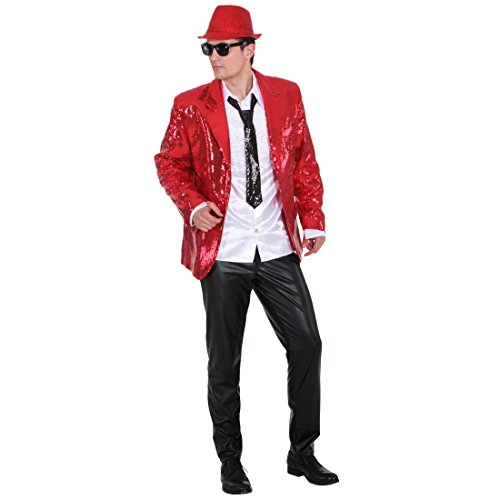 Paillettenjacke rot Show Jacket Jacke Showtime Glitzerjacke Showmaster Oberteil Showjacket Pailletten Herrenjacke XL 56/58
