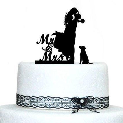 Romantic Kiss Braut und Bräutigam Silhouette mit Hund Tortenaufsatz MR und Mrs Acryl Hochzeit Kuchen Topper