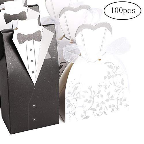 Wilk Wedding Dress & Tuxedo-Süßigkeit-Kasten 100Pcs-Wedding Geschenk-Kasten-Party-Bevorzugungs-Papierkasten Bräutigam Smoking-Süßigkeit-Kasten (Personalisierte Wedding Party Geschenke)