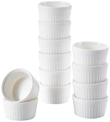 MALACASA, Serie Ramekin.Dish, 24-tlg Set, 6 cm Ø Porzellan Mini Muffin Förmchen Pastetenform Kuchenform -