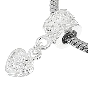 Silberner Herzanhänger für Mädchen mit Geschenkbeutel für Anhänger von Bettelarmbändern