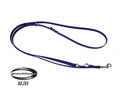 MJH Führleine BETA-BioThane 3-fach verstellbar 2m/9mm blau für Hunde bis ca. 12kg