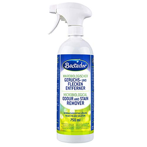 Bactador Geruchs-/Fleckenentferner Spray, Biologischer Enzymreiniger, Gebrauchsfertige Lösung, gegen Schweiß, Katzen und Hundeurin, Tiergerüche - Für Haushalt, Auto und Tierumgebung, 750 ml
