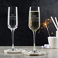 Personalised Champagne Glasses Pair/Bride And Groom Personalised Wedding Gifts/Engraved Champagne Flutes For Mr & Mrs/Engagement Gifts For Couples