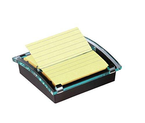 Post-it DS440SCY Super Sticky Z-Notes Spender, schwarz/transparent inkl. 1 Block Z-Notes à 90 Blatt, gelb, liniert, 101 x 101 mm