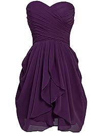Sarahbridal Damen Mini Chiffon Ballkleid Herzenform Abendkleider Faltenrock Abschlussballkleider SSD247
