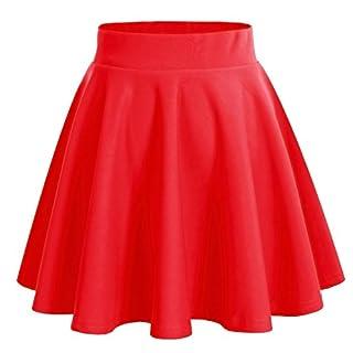 Dresstells Damen Basic Solide Vielseitige Dehnbar Informell Mini Glocken Rock Rot S